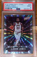 POP 2 🔥2018 LeBron James NATIONAL RAINBOW SPOKES LASER REFRACTOR #30 /49 PSA 9