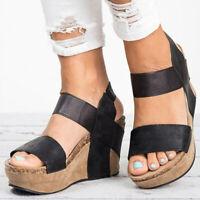 Womens Summer Wedge Sandals High Heels Platform Bandage Casual Beach Dress Shoes