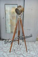 Searchlight Antique Brown  Floor Lamp Wooden Tripod Spotlight LED Lamp Marine