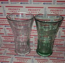 Vtg Libbey Green & Clear Heavy Glass Coca-Cola Fountain Glasses Set of 2 s#70