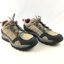Salomon Men's Beige Leather Mesh Contragrip Lace Up Trail Hiking Shoes Size 11.5