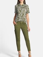 NWT Kate Spade Slim Cargo Pants Havana Alma Green with Zip Cuffs Size 2  $298