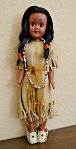"""Antique Vintage Native American Indian / Eskimo Girl Doll 7.5"""" Leather Outfit"""