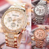 Reloj Pulsera Cuarzo Acero Inoxidable Cristal Fecha Lujo para Mujer