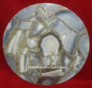 Gemstone Grey Agate Table Top Handmade, Agate Table Tops For Hotel & Home Use