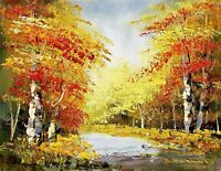 Forest Trees - #3, 12x16 Hand painted Oil Painting on Canvas, Unstretched
