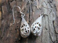 Sterling Silver Art Nouveau Style Teardrop Earrings