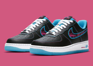 "Nike Air Force 1 '07 LV8 ""Miami Nights"" Black Fireberry DD9183-001 Men's Shoes"