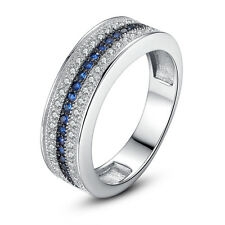 Elegant Woman Round Cut Blue & White Sapphire 925 Silver Ring Size 6