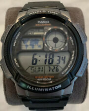 Casio Men's World Time Silver-Tone and Black Digital Sport Watch - New Battery!