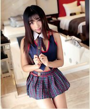Costume Completino Studentessa School Girl Student Sexy Cosplay Rosso Con Gonna