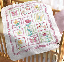 Cross Stitch Kit ~ Plaid-Bucilla Sophie Flowers Baby Crib Cover / Quilt #43902