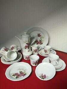 🍀KAHLA - Kaffee Service Motiv Blumen 🌺 6 Personen /komplett Vintage DDR