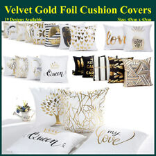 Velvet Gold Foil Printed Cushion Cover Geometric Throw Pillow Case Home Decor