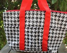 Houndstooth Red Insulated Tote Lunch Bag Travel Beach Shopping Thermal NEW