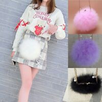 Fluffy Genuine Feather Round Clutch Fur Bag Chain Purse Multi Color Xmas Gifts