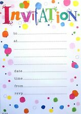 Party Invites, 20 Invitation Sheets With Envelopes - For Any Party Occasion