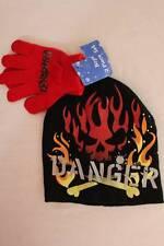 NEW Boys Beanie Hat Gloves 2 Pc Set Black Red Skull Fire Danger Acrylic Knit Cap
