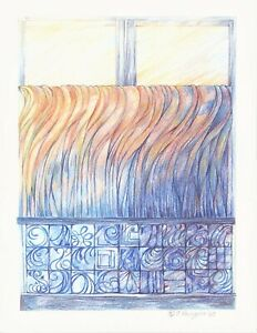 """Abstract Pencil Drawing """"Cafe Curtains"""" 8.5 x 11.0 Signed Original 2020-0219"""