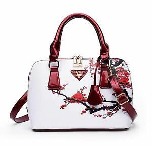 Women's White Red Floral Cherry Blossom Designer Handbag Ladies Shoulder Bag New