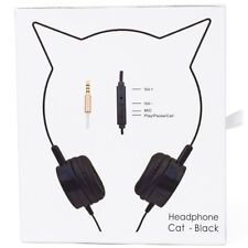 Lux Accessories Black Cat Ear Headphones Wire Frame Headset w Microphone