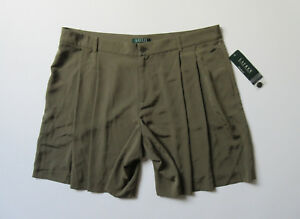NWT LAUREN Ralph Lauren Pleated Short in Olive Green Silky A-Line Shorts 16