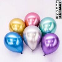 "5"" to 18"" Large METALLIC LATEX BALLOONS Chrome Shine Helium Birthday Party Week"