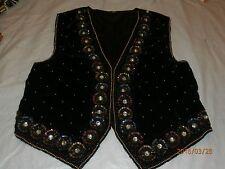 Vtg Original Black Velvet & Viscose Floral Design Vest Made of Sequins & Beads