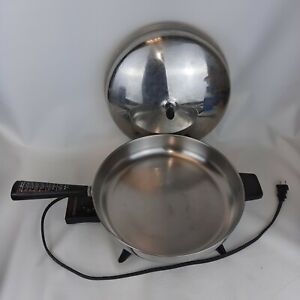 """Vintage USA Made Aluminum Clad Stainless Farberware 12"""" Electric Fry Pan 310-A"""