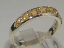 Natural Citrine Round Sterling Silver Fine Rings