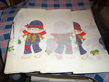 "Vintage Paper Table Cover Tablecloth Child Fishing Frogs Turtles 3 Pieces 54"" Wi"