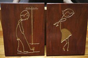 Vtg Kitsch 70s Handmade Primitive Wood Gold Outsider Oak Engraving Golfer Dancer