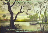 GRAVURE AQUATINTE signée paysage de marais début 20è