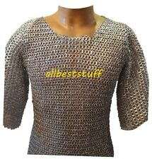 Chain Mail Hauberk Flat Riveted Flat Solid Chain Mail Shirt Galvanized