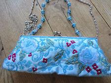 Glam Evening Wedding Prom Bag Embroider Bead Blue Satin Sequin Clutch Shoulder