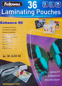 36 A4 laminating pouches Fellowes laminator laminates