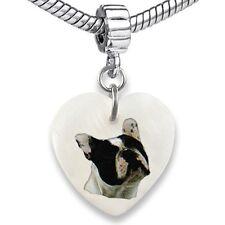 French Bulldog Heart Mother Of Pearl European Charm Bead For Bracelet EBS22
