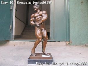 Western 100% Bronze Marble statue Art Muscle man Bodybuilder Classic Sculpture