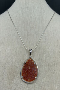 Barse Carved Stone Teardrop Necklace- Carnelian- Sterling Silver- NWT