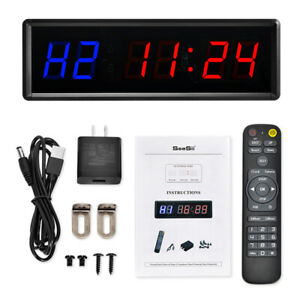 Programmable LED Interval Timer Clock Training w/ Remote Fitness Gym Tabata Yoga