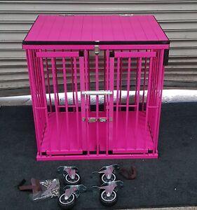 2 Door Medium Aluminium Dog Show Trolley /Cage Crazy for Pink