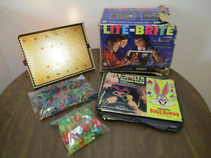 Vintage Original 1967 Lite-Brite Toy 5455 w/ Pegs and Alphabet Pegs & Papers