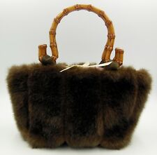 Brown Faux Fur Purse Handbag With Bamboo Handles Pink Satin Butterfly Lining