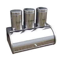 Silver Bread Bin Storage Canister Set Tea Sugar Coffee Kitchen Jar Metal 4 Pc