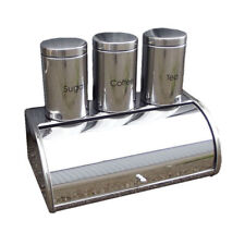 Silver Bread Bin Storage Canister Set Tea Sugar Coffee Kitchen Jar Metal 4 Pc