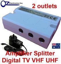 Greentek VTW-30 indoor Amplifier 2 way splitter 240V Digital HD TV FM COAX NEW