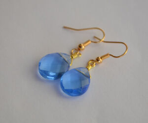 Handmade Blue faceted glass teardrop Gold drop Earring