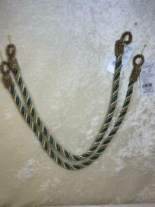 """1 Pair Conso Curtain Tiebacks Window 3 Color Twisted Rope 26"""" Gold Bronze Teal"""