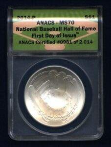 2014-P  BASEBALL HALL OF FAME SILVER DOLLAR, UNCIRCULATED, CERTIFIED ANACS MS70