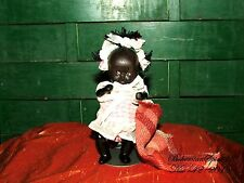 ANTIQUE BLACK AMERICANA MINIATURE GIRL BISQUE DOUBLE JOINTED 4'' RESTORED DOLL